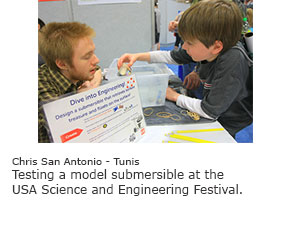 Testing a model submersible at the USA Science and Engineering Festival.