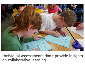 Individual assessments don't provide insights on collaborative learning.