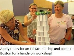 three teachers build a tower at an EiE professional development workshop.