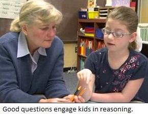 A teacher asks questions to help a student reach her own conclusions