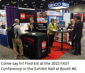 The Engineering is Elementary conference hall exhibit booth.
