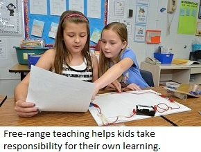 Two elementary students consider a wiring diagram.