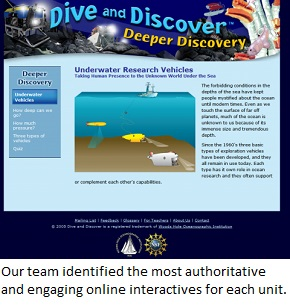 """Dive and Discover"" is one of the engaging interactives you'll find on EiE Science Resources Lists."