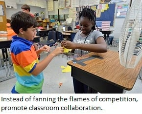 EiE students get ready to test how well a sail catches the wind.
