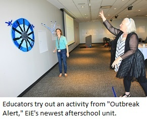 Educators toss model viruses at a model cell, an activity in Outbreak Alert from Engineering Everywhere.