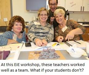 A team of happy teachers at an EiE workshop.