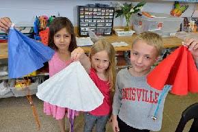 Kids designing parachutes