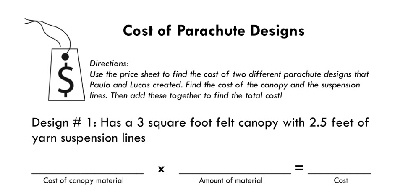 Cost of Parachute designs sample