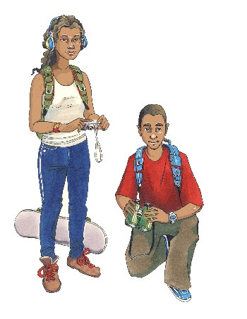 India and Jacob illustration